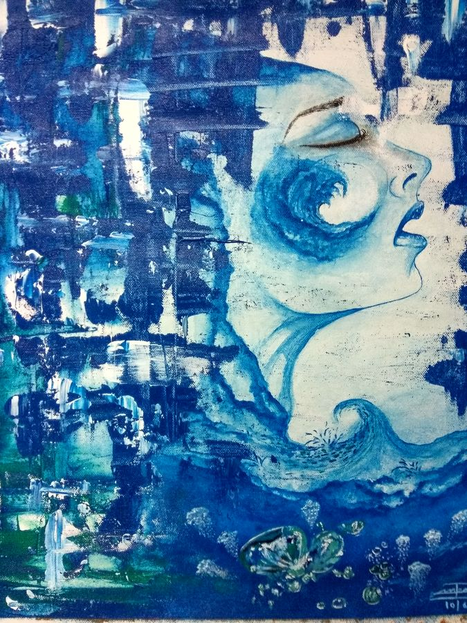 ocean lady, 16 x 18 inch, manika sharma,abstract paintings,paintings for living room,canvas,acrylic color,16x18inch,GAL010222589