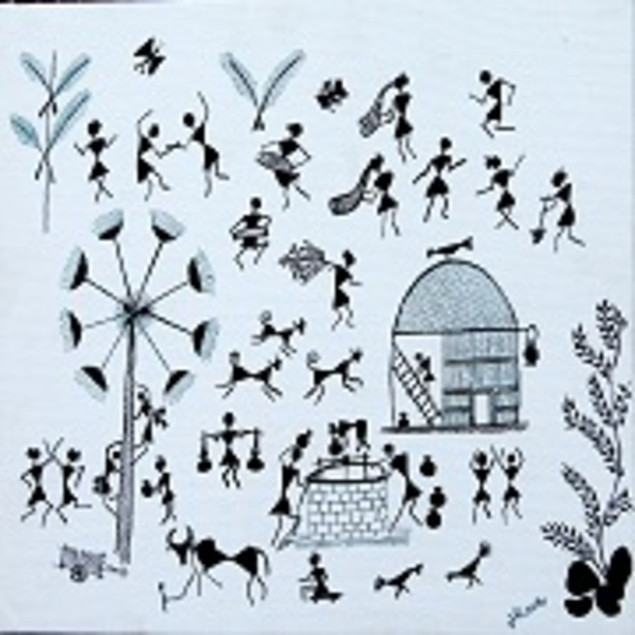 ancient   warli arts  on handmade paper, 12 x 10 inch, harpreet kaur punn,12x10inch,handmade paper,paintings,figurative paintings,modern art paintings,conceptual paintings,warli paintings,paintings for dining room,paintings for living room,paintings for bedroom,paintings for office,paintings for school,acrylic color,paper,GAL0599725894