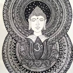 buddha in serenity, 11 x 14 inch, niharika pansari,11x14inch,drawing paper,abstract drawings,illustration drawings,impressionist drawings,buddha drawings,ink color,GAL01511725899