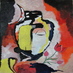 abstract shiva, 18 x 24 inch, indhuja raghavan,abstract paintings,paintings for living room,lord shiva paintings,canvas,acrylic color,18x24inch,GAL0110259