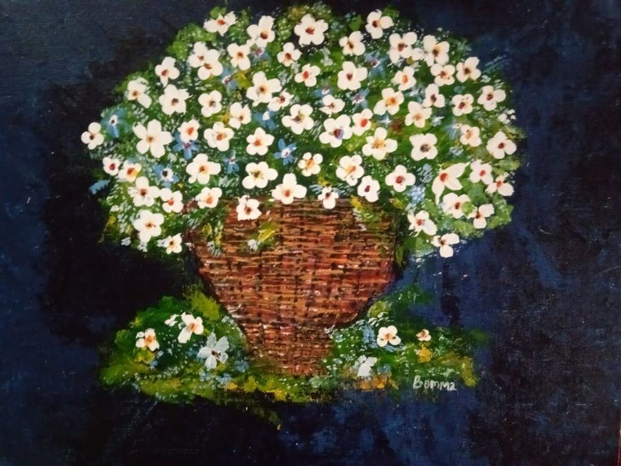 flower basket, 18 x 14 inch, dr basavaraj  bommanahalli ,18x14inch,canvas,paintings,abstract paintings,acrylic color,GAL01352625903