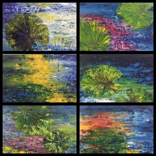 lily leaves, 40 x 48 inch, shilpi singh patel,40x48inch,canvas,paintings,landscape paintings,multi piece paintings,nature paintings,impressionist paintings,paintings for dining room,paintings for living room,paintings for bedroom,paintings for office,paintings for hotel,paintings for school,paintings for hospital,oil color,GAL045525908
