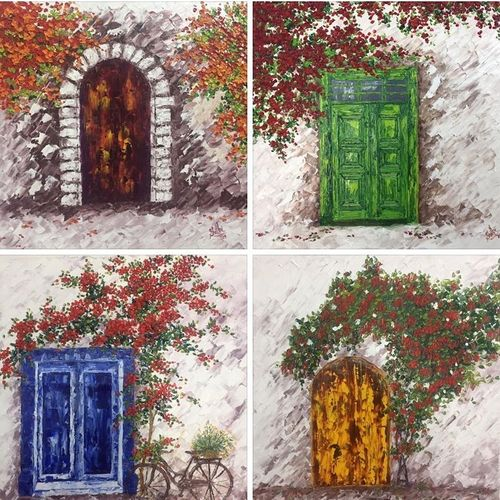 the door, 32 x 32 inch, shilpi singh patel,32x32inch,canvas,paintings,flower paintings,landscape paintings,multi piece paintings,nature paintings,impressionist paintings,paintings for dining room,paintings for living room,paintings for bedroom,paintings for office,paintings for hotel,paintings for kitchen,paintings for school,paintings for hospital,oil color,GAL045525909