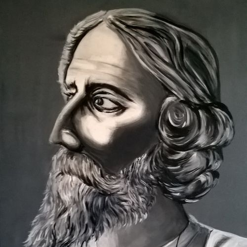 rabindranath tagore , 24 x 36 inch, sayantan  ghati ,portrait paintings,paintings for living room,canvas,acrylic color,24x36inch,GAL07702591