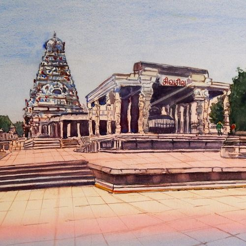 tanjore big temple, 20 x 13 inch, murugesan ammasaigounder,20x13inch,arches paper,paintings,cityscape paintings,landscape paintings,religious paintings,contemporary paintings,lord shiva paintings,paintings for dining room,paintings for living room,paintings for bedroom,paintings for office,paintings for bathroom,paintings for hotel,paintings for school,paintings for hospital,watercolor,paper,GAL01496125910