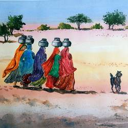 fetching water, rajasthan, 23 x 17 inch, murugesan ammasaigounder,23x17inch,arches paper,paintings,figurative paintings,folk art paintings,landscape paintings,nature paintings,impressionist paintings,paintings for living room,paintings for bedroom,paintings for office,paintings for hotel,paintings for school,paintings for hospital,watercolor,paper,GAL01496125912