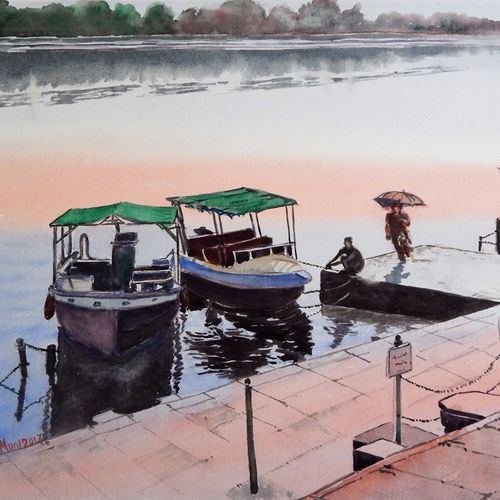 ahalya ghat - narmada river, maheshwar, mp, 17 x 13 inch, murugesan ammasaigounder,17x13inch,arches paper,paintings,figurative paintings,landscape paintings,nature paintings,impressionist paintings,contemporary paintings,paintings for living room,paintings for bedroom,paintings for office,paintings for hotel,paintings for school,paintings for hospital,watercolor,paper,GAL01496125913