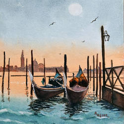 gondolas of venice, italy, 19 x 13 inch, murugesan ammasaigounder,19x13inch,arches paper,paintings,cityscape paintings,landscape paintings,impressionist paintings,paintings for dining room,paintings for living room,paintings for bedroom,paintings for office,paintings for hotel,paintings for school,paintings for hospital,watercolor,paper,GAL01496125914