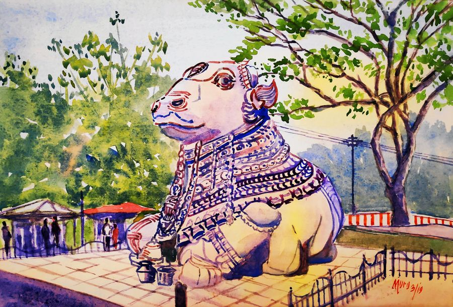 nandi at chamundi hills mysore, 15 x 10 inch, murugesan ammasaigounder,15x10inch,canson paper,paintings,landscape paintings,religious paintings,nature paintings,impressionist paintings,paintings for dining room,paintings for living room,paintings for bedroom,paintings for kitchen,paintings for school,paintings for hospital,watercolor,paper,GAL01496125916,cow,holyplace,pilgrimage,nandi,tourism