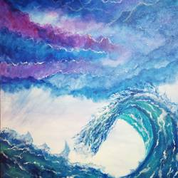 moonlight waves, 16 x 20 inch, sneha singh,16x20inch,canvas,paintings,landscape paintings,paintings for dining room,paintings for living room,paintings for bedroom,paintings for office,paintings for bathroom,paintings for hotel,paintings for school,paintings for hospital,acrylic color,GAL01445325918