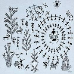 ancient warli arts on canvas , 12 x 10 inch, harpreet kaur punn,12x10inch,canvas,paintings,figurative paintings,modern art paintings,conceptual paintings,warli paintings,paintings for dining room,paintings for living room,paintings for bedroom,paintings for office,paintings for hotel,acrylic color,GAL0599725926