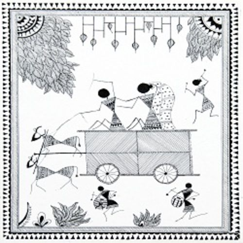 ancient   warli arts  on handmade paper, 10 x 12 inch, harpreet kaur punn,10x12inch,handmade paper,paintings,figurative paintings,conceptual paintings,warli paintings,paintings for dining room,paintings for living room,paintings for office,paintings for hotel,paintings for school,acrylic color,paper,GAL0599725929