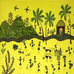 ancient   warli arts  on handmade paper, 16 x 11 inch, harpreet kaur punn,16x11inch,handmade paper,paintings,figurative paintings,modern art paintings,conceptual paintings,warli paintings,paintings for dining room,paintings for living room,paintings for office,paintings for hotel,paintings for school,acrylic color,paper,GAL0599725933