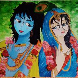 divine god, 36 x 24 inch, surabhi lalwani,36x24inch,canvas,paintings,figurative paintings,religious paintings,impressionist paintings,portraiture,realism paintings,radha krishna paintings,love paintings,acrylic color,GAL01499425935
