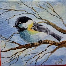 chickadee in winters, 4 x 12 inch, surabhi lalwani,4x12inch,acrylic glass,handicrafts,vases,acrylic color,GAL01499425938