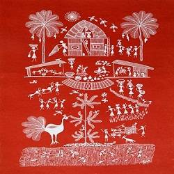 ancient   warli arts  on handmade paper, 18 x 21 inch, harpreet kaur punn,18x21inch,handmade paper,paintings,figurative paintings,modern art paintings,conceptual paintings,warli paintings,paintings for dining room,paintings for living room,paintings for bedroom,paintings for office,paintings for hotel,paintings for school,paintings for hospital,acrylic color,paper,GAL0599725941