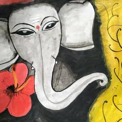 beautiful ganesha painting, 11 x 14 inch, niharika pansari,11x14inch,thick paper,paintings,abstract paintings,figurative paintings,modern art paintings,conceptual paintings,religious paintings,photorealism paintings,watercolor,GAL01511725947