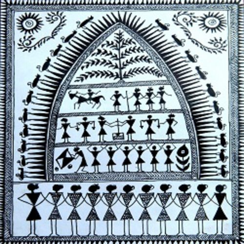 ancient   warli arts  on handmade paper, 6 x 8 inch, harpreet kaur punn,6x8inch,handmade paper,paintings,figurative paintings,modern art paintings,conceptual paintings,warli paintings,paintings for living room,paintings for office,paintings for hotel,acrylic color,paper,GAL0599725950