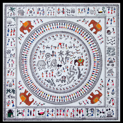 ancient   warli arts  eccentrically on handmade paper, 17 x 17 inch, harpreet kaur punn,17x17inch,handmade paper,paintings,figurative paintings,cityscape paintings,modern art paintings,conceptual paintings,religious paintings,warli paintings,paintings for dining room,paintings for living room,paintings for office,paintings for hotel,paintings for school,paintings for hospital,acrylic color,paper,GAL0599725959