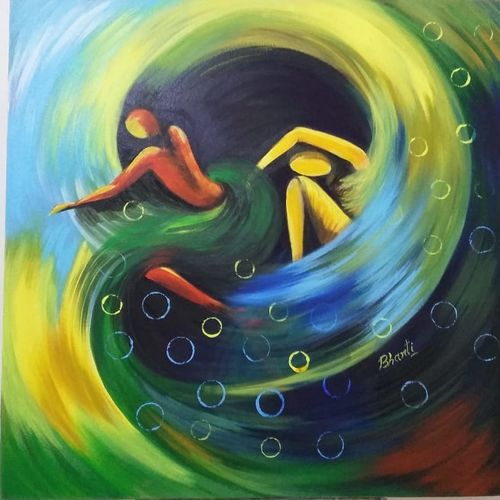 struggle of life 1, 24 x 24 inch, bharti indorkar,24x24inch,canvas,paintings,figurative paintings,paintings for dining room,paintings for living room,paintings for bedroom,paintings for office,paintings for hotel,paintings for hospital,acrylic color,oil color,GAL01462525962
