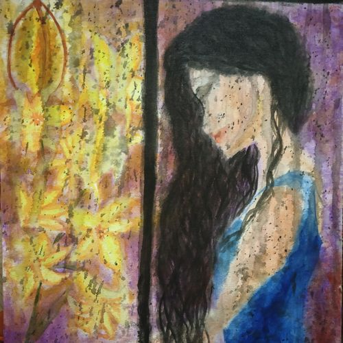 girl in the window in the rain, 16 x 20 inch, sneha singh,16x20inch,canvas,paintings,figurative paintings,still life paintings,portrait paintings,realism paintings,paintings for dining room,paintings for living room,paintings for bedroom,paintings for bathroom,paintings for hotel,paintings for kitchen,paintings for school,figurative drawings,portrait drawings,acrylic color,GAL01445325963