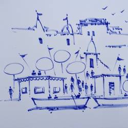 varanasi ghat, 11 x 8 inch, girish chandra vidyaratna,11x8inch,paper,drawings,figurative drawings,fine art drawings,modern drawings,paintings for living room,pen color,GAL03625966