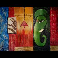 lord ganesha with modern work, 24 x 18 inch, rakhi gupta,24x18inch,wood board,paintings,abstract paintings,modern art paintings,religious paintings,art deco paintings,impressionist paintings,ganesha paintings,paintings for dining room,paintings for living room,paintings for office,paintings for hotel,ceramic,fabric,wood,GAL01524025971,ganpati,ganesha,lord ganesh,elephant god,religious,ganpati bappa morya