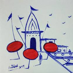 varanasi ghat, 11 x 8 inch, girish chandra vidyaratna,11x8inch,paper,drawings,figurative drawings,fine art drawings,modern drawings,paintings for living room,pen color,GAL03625975