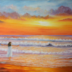 sea beach at sunset, 30 x 20 inch, goutami mishra,30x20inch,canvas,paintings,figurative paintings,landscape paintings,modern art paintings,nature paintings,photorealism paintings,photorealism,realistic paintings,paintings for dining room,paintings for living room,paintings for bedroom,paintings for office,paintings for hotel,oil color,GAL046525976,sunset,waves,scenery,beautiful,lady,beach,water