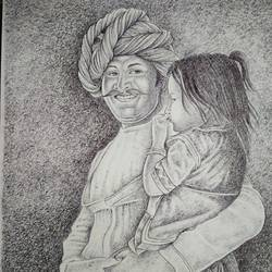 father and child, 12 x 15 inch, bharti jaju,12x15inch,handmade paper,paintings,figurative paintings,baby paintings,paintings for living room,paintings for bedroom,paintings for kids room,paintings for school,ball point pen,GAL01494525977
