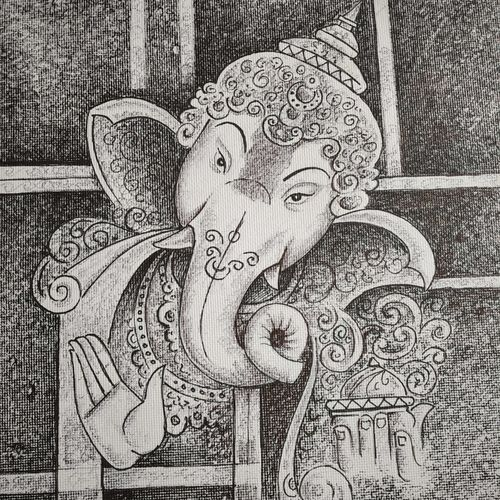 ganesha, 12 x 15 inch, bharti jaju,12x15inch,handmade paper,paintings,ganesha paintings,paintings for dining room,paintings for living room,paintings for office,paintings for kids room,paintings for hotel,paintings for school,paintings for hospital,ball point pen,GAL01494525978,ganpati,ganesha,lord ganesh,elephant god,religious,ganpati bappa morya
