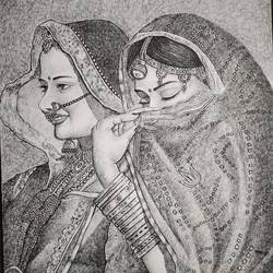 women, 12 x 15 inch, bharti jaju,12x15inch,handmade paper,figurative paintings,portrait paintings,paintings for hotel,paintings for hotel,ball point pen,GAL01494525979