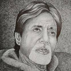 amitabh bachchan, 12 x 15 inch, bharti jaju,12x15inch,handmade paper,paintings,portrait paintings,paintings for dining room,paintings for living room,paintings for bedroom,paintings for office,paintings for kids room,paintings for hotel,paintings for school,ball point pen,GAL01494525980