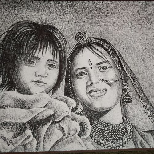 mother and child, 12 x 15 inch, bharti jaju,12x15inch,handmade paper,paintings,portrait paintings,paintings for dining room,paintings for living room,paintings for bedroom,paintings for office,paintings for kids room,paintings for hotel,paintings for school,paintings for hospital,ball point pen,GAL01494525983