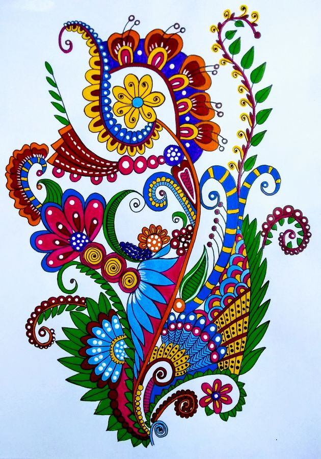 colourful zentangle, 11 x 16 inch, geeta kwatra,11x16inch,drawing paper,paintings,abstract paintings,modern art paintings,paintings for dining room,paintings for living room,paintings for office,paintings for hotel,acrylic color,GAL0899125987