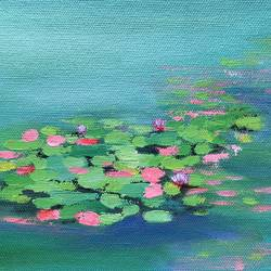 lotus pond, 6 x 6 inch, amita dand,6x6inch,canvas board,paintings,abstract paintings,nature paintings,surrealism paintings,miniature painting.,paintings for dining room,paintings for living room,paintings for bedroom,paintings for office,paintings for bathroom,paintings for hotel,paintings for hospital,acrylic color,GAL0146725992