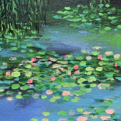 lotus pond 2 ! impressionist art ! miniature painting, 6 x 6 inch, amita dand,6x6inch,canvas,paintings,nature paintings,impressionist paintings,surrealism paintings,paintings for dining room,paintings for living room,paintings for bedroom,paintings for office,paintings for bathroom,paintings for hotel,paintings for hospital,acrylic color,GAL0146725993