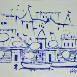 varanasi ghat, 11 x 8 inch, girish chandra vidyaratna,11x8inch,paper,drawings,figurative drawings,fine art drawings,modern drawings,paintings for living room,pen color,GAL03625997