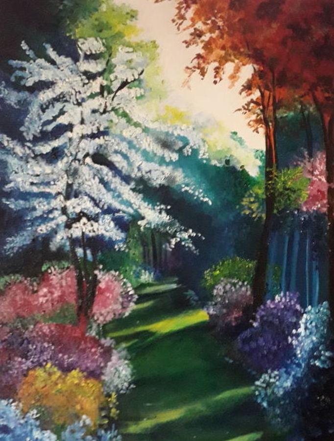 a beautiful scene, 18 x 24 inch, sangeeta  gurbani,18x24inch,canvas,paintings,landscape paintings,paintings for living room,paintings for office,oil color,GAL01516426013