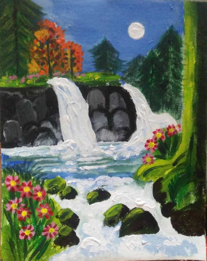 waterfall, 8 x 10 inch, priyanka bhise,8x10inch,canvas,paintings,landscape paintings,acrylic color,GAL01495026014