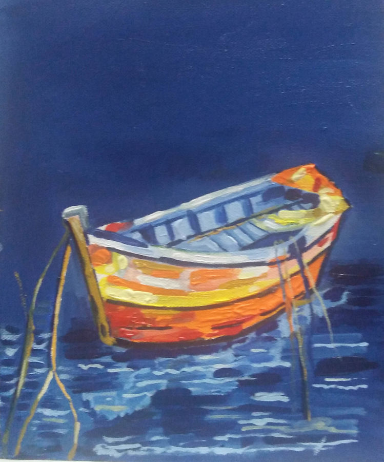boat painting, 8 x 10 inch, priyanka bhise,8x10inch,canvas,paintings,nature paintings,paintings for dining room,paintings for living room,paintings for bedroom,paintings for office,paintings for kids room,paintings for hotel,paintings for school,acrylic color,GAL01495026015,boats,water,beautiful