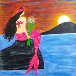 sweet mermaid, 15 x 19 inch, geeta kwatra,15x19inch,canvas,paintings,abstract paintings,figurative paintings,landscape paintings,kids paintings,paintings for kids room,paintings for hotel,paintings for school,acrylic color,GAL0899126022