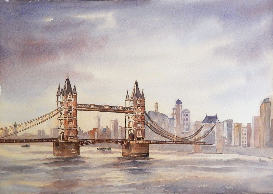 tower bridge, london, uk, 20 x 14 inch, murugesan a.,20x14inch,arches paper,paintings,cityscape paintings,landscape paintings,impressionist paintings,paintings for dining room,paintings for living room,paintings for bedroom,paintings for office,paintings for hotel,paintings for school,paintings for hospital,watercolor,paper,GAL01496126025