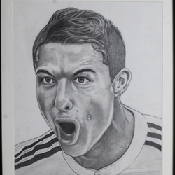 cristiano ronaldo- footballer, 11 x 15 inch, shivkumar  menon,portrait paintings,paintings for living room,figurative drawings,drawing paper,graphite pencil,11x15inch,GAL09862603
