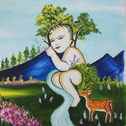 kudrat ka vardaan hai beti, 16 x 20 inch, sandhya kumari,16x20inch,canvas,paintings,wildlife paintings,figurative paintings,flower paintings,landscape paintings,nature paintings,animal paintings,love paintings,baby paintings,children paintings,kids paintings,paintings for dining room,paintings for living room,paintings for bedroom,paintings for office,paintings for kids room,paintings for hotel,paintings for kitchen,paintings for school,paintings for hospital,acrylic color,GAL0365926030
