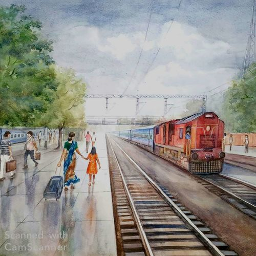 to the destination, 22 x 15 inch, tapas paul,22x15inch,fabriano sheet,paintings,street art,watercolor,GAL01146626033