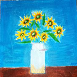 flower vase art, 8 x 15 inch, minakhi choudhury,8x15inch,canvas,paintings,flower paintings,paintings for living room,paintings for hospital,poster color,GAL01441426038