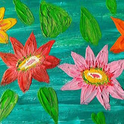 colorful flower wax art, 15 x 9 inch, minakhi choudhury,15x9inch,hardboard,paintings,flower paintings,folk art paintings,paintings for living room,paintings for office,mixed media,GAL01441426039