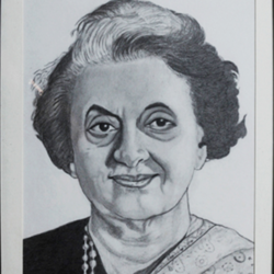 late smt.indira gandhi, 9 x 13 inch, shivkumar  menon,portrait paintings,paintings for living room,figurative drawings,drawing paper,graphite pencil,9x13inch,GAL09862604