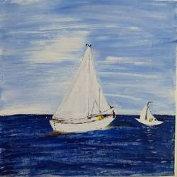 sailboat, 12 x 12 inch, urvashi verma,12x12inch,canvas,abstract paintings,landscape paintings,paintings for dining room,paintings for living room,paintings for bedroom,paintings for kids room,paintings for dining room,paintings for living room,paintings for bedroom,paintings for kids room,acrylic color,GAL01503926043